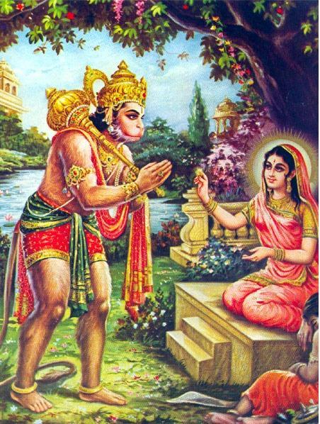 Sita-devi-handing-over-kanayazhi-hanuman